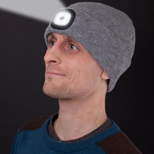 Lumière LED chapeau chaud tricoté chapeau en plein air pêche en cours dexécution bonnet chapeau automne hiver Flash phare Camping escalade casquettes #08