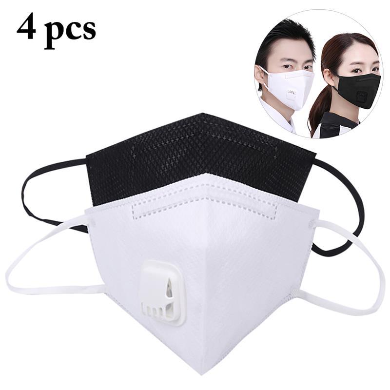 4 Piezas Pm2.5 Anti Niebla Máscara De Respiración Válvula Anti-polvo De La Máscara De La Boca De Filtro De Carbono Activado Respirador Transpirable A Prueba De Polvo De La Máscara
