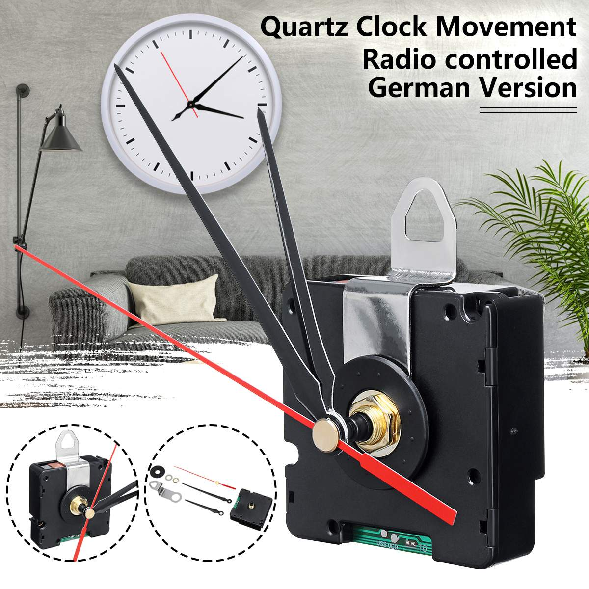 Quartz Clock German Version DCF Just for European Region Quartz Clock Movement Radio Controlled For Europe HR9624Quartz Clock German Version DCF Just for European Region Quartz Clock Movement Radio Controlled For Europe HR9624