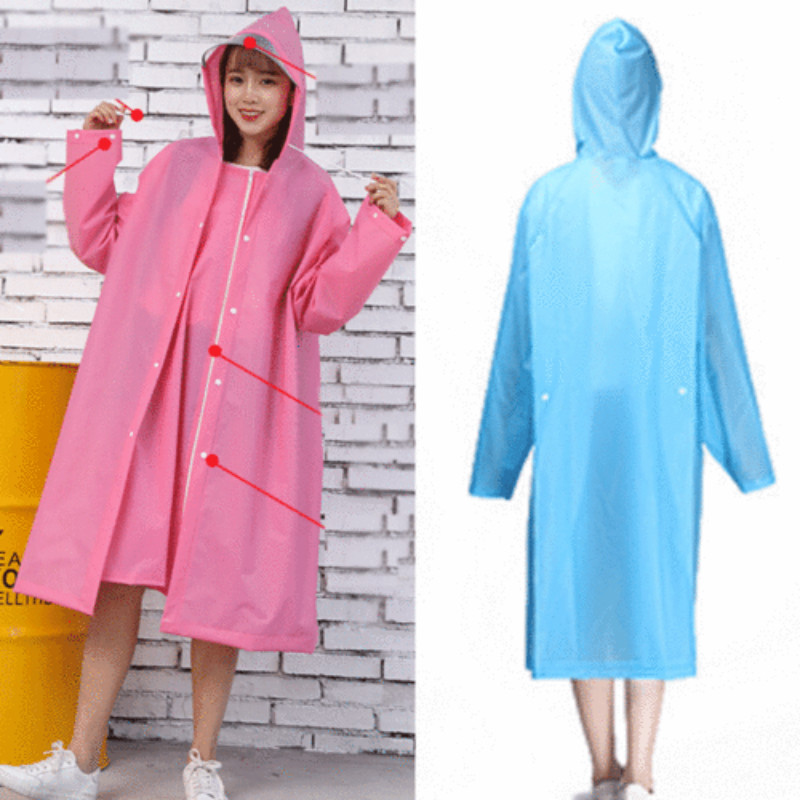 Unisex Waterproof Jacket Clear Raincoat Rain Coat Hooded Poncho Rainwear Men US