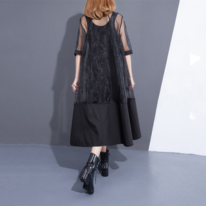 Image 5 - [EAM] 2020 חדש קיץ צווארון עומד שלושה רובע שרוול שחור Oragnza רשת תפר רופף שתי חתיכה שמלת נשים אופנה T456