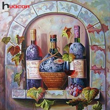 Huacan Full Drill Square Diamond Mosaic Sale Cartoon Picture Of Rhinestones Diamond Painting Wine Bottle Diamond Embroidery
