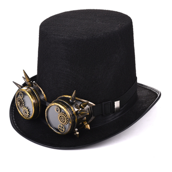 Steampunk Men Women Steampunk Top Hat Gears Spike Goggles Cosplay Costume Gothic Hat Black