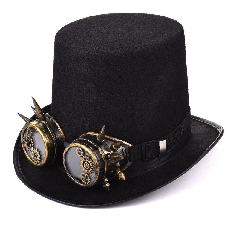 Punk Goth Lolita Victorian Steampunk Black Mini Top Hat Silver Spikes Trim OS US