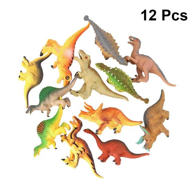 12 pcs Set Brinquedos Dinossauros Moldes Decorativa Divertido Realista Figuras de Animais de Plástico Modelos de Favores Do Partido para Crianças Crianças Crianças