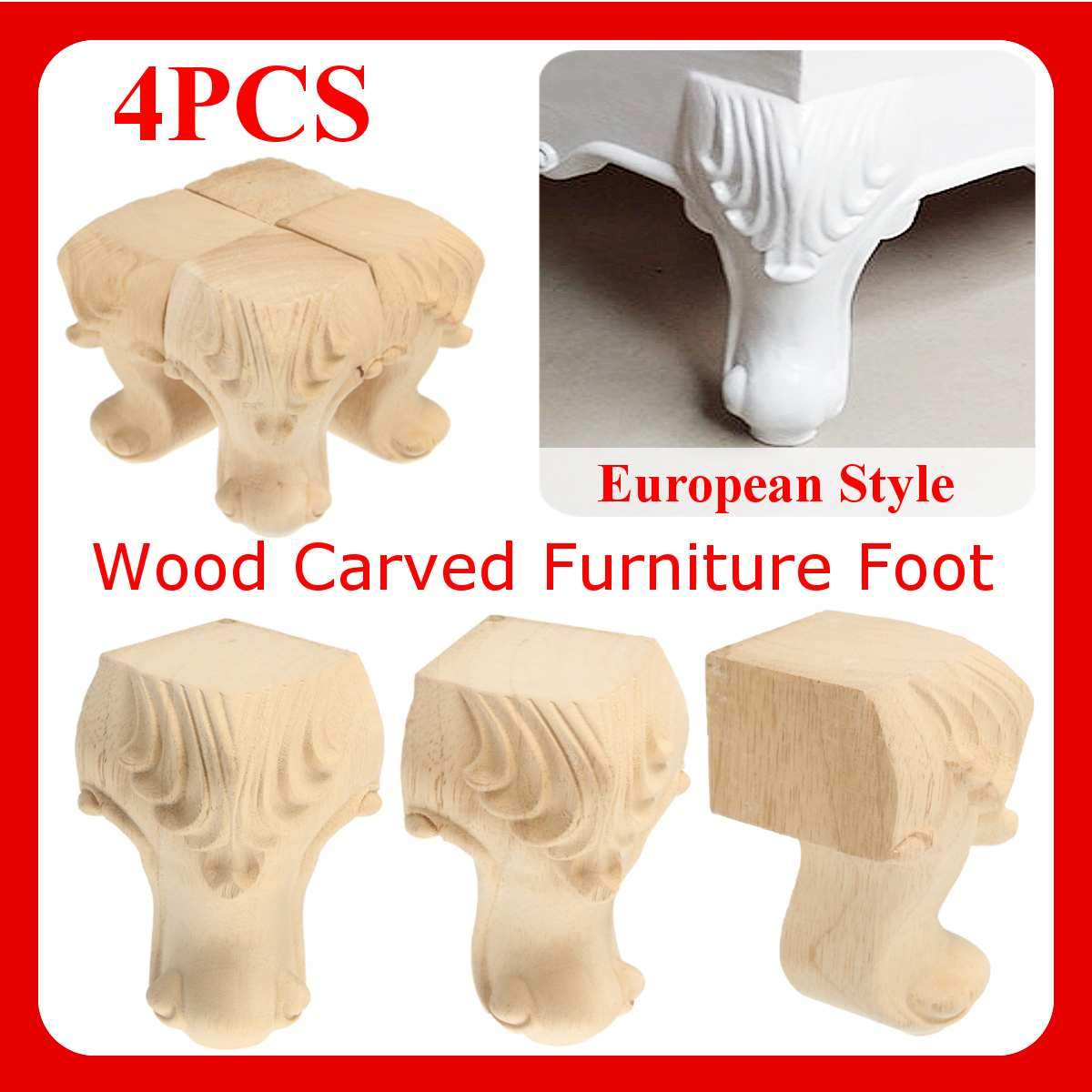 4PCS European Style Solid Wood Carved Furniture Foot Legs TV Cabinet Couch Sofa Wood Furniture Table Feets Seat leg wood carving4PCS European Style Solid Wood Carved Furniture Foot Legs TV Cabinet Couch Sofa Wood Furniture Table Feets Seat leg wood carving
