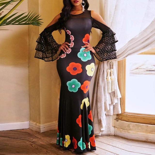 Clocolor Long Party Dress Women Elegant Floral Printed Black Off Shoulder Mesh Bodycon Mermaid Evening Ruffle Sleeve Maxi Dress