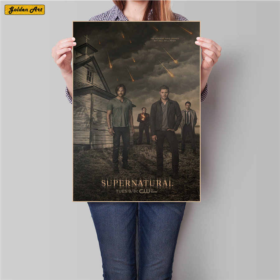 Nadprzyrodzone supernaturalne Vintage Movie plakat Retro ściana papierowa obraz do salonu naklejka ścienna bar cafe 45.5x31.5cm