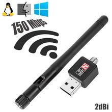 OcioDual 150 Мбит/с беспроводной USB WiFi LAN адаптер длинный диапазон 2dBi антенна для компьютера Черный