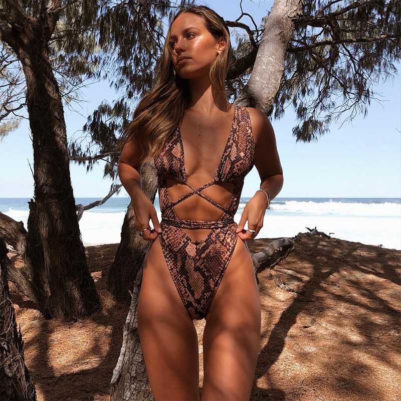Swimsuit Padded Monokini Bandage Serpentine Leopard-Printed Push-Up Sexy One-Piece Summer title=