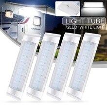 4 sztuk 72LED wewnętrzna lampka Tube dodatkowa lampa LED do samochodu lampa 24V biały pasek świetlówka przełącznik dla Auto Caravan Trailer/RV części