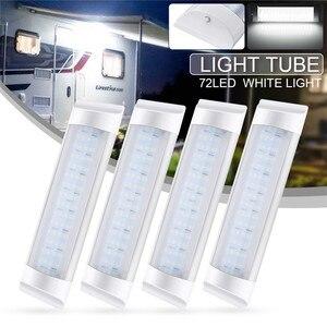 Image 1 - 4 sztuk 72LED wewnętrzna lampka Tube dodatkowa lampa LED do samochodu lampa 24V biały pasek świetlówka przełącznik dla Auto Caravan Trailer/RV części