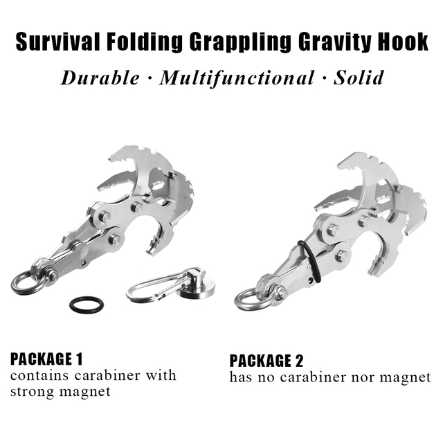 Stainless Steel Survival Gravity Hook Grappling Carabiner Magnet Outdoor Climbing Claws Traction Rescue EDC Tool Key Chain