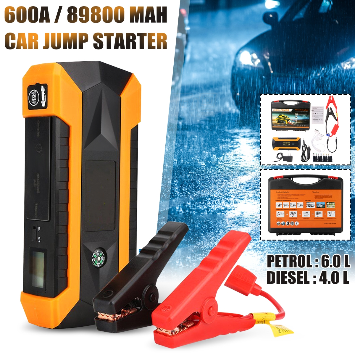 89800mAh Car Jump Starter 12V 4USB 600A Portable Car Battery Booster Charger Booster Power Bank Starting