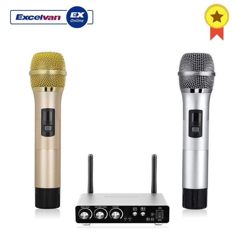 Excelvan K28 Caixa Vários Freqüência Dupla Microfones Sem Fio Com Receptor Full-Metal High-End Microfone Conexão Bluetooth