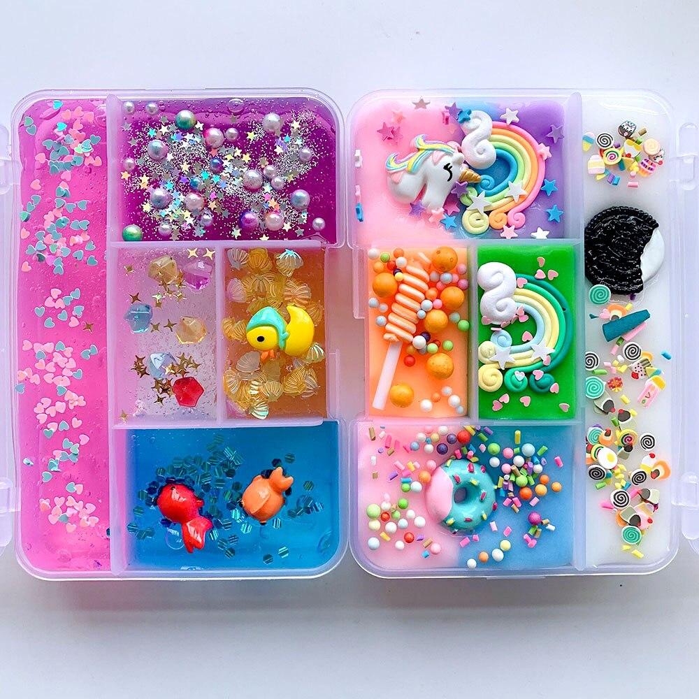 Mélange coloré licorne slime bricolage arc-en-ciel Slime Squishy Antistress enfants mousse balle coton Slime jouet pour bonbons Plasticine jouet cadeau