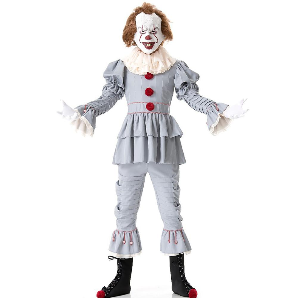 Adult Unisex Scary Stephen King's It Pennywise Costume Horror Killer Clown Joker Cosplay Uniform