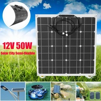 Flexible Solar Panel Plate 12V 50W Solar Charger for Car Battery Charging 18V Monocrystalline Cell Module For Hause,Roof,Boat