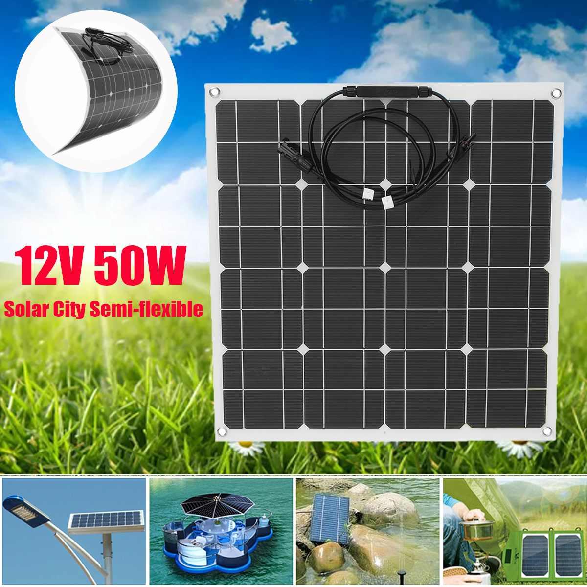 Flexible panneau solaire Plaque 12 V 50 W chargeur solaire pour la voiture Batterie De Charge 18 V Cellule Monocristallin Module Pour Hause, toit, Bateau