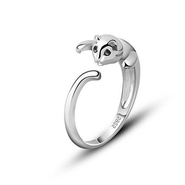 Cartoon Quadratic Kitty Ring 925 Silver Ring Cat's Eye Mosaic Drill  Low-key luxury, generous and low-key