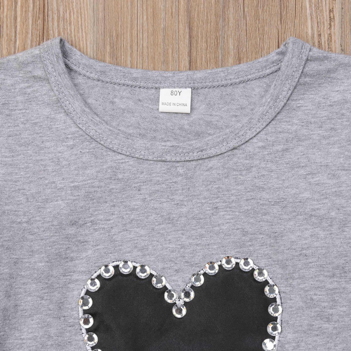 Pudcoco familia ropa a juego mamá bebé niños 2018 otoño Casual cuello redondo algodón corazón manga larga Camisetas