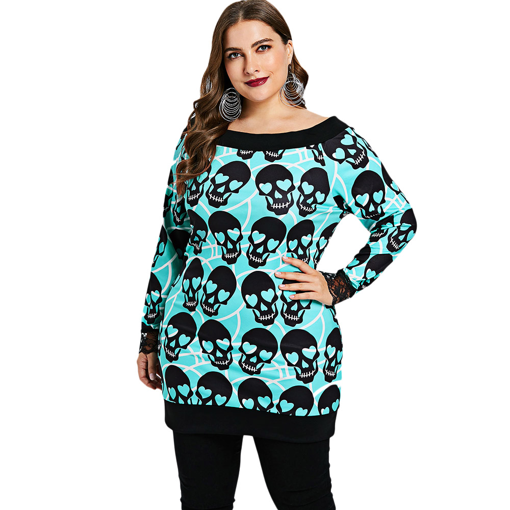 US $11.94 48% OFF|Wipalo Plus Size Skull Pattern Top Women T Shirt  Halloween Tunic Top Autumn Boat Neck Long Sleeve T Shirt Female Woman  Clothes-in ...
