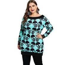 Women's Plus Size Skull Patterned Sweatshirt