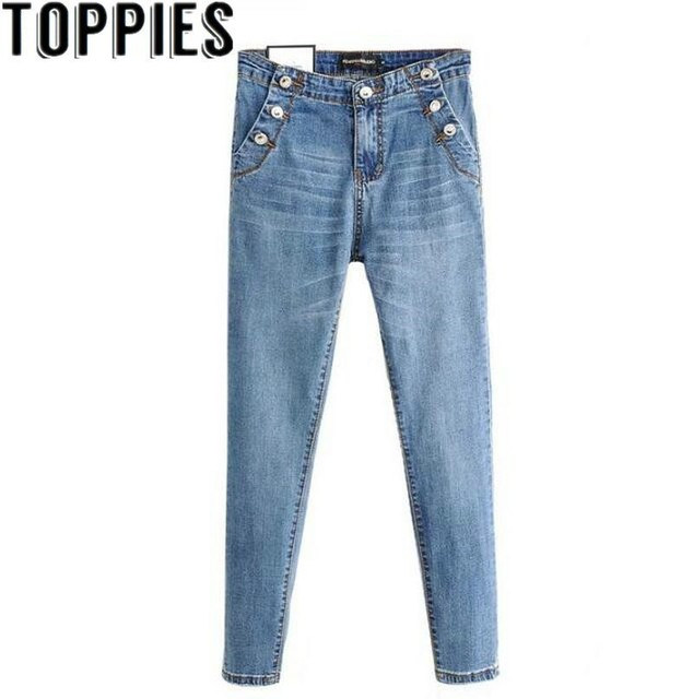 2019 נשים רטרו בציר כפתורי דקור סקיני ג 'ינס Slim נמתח ינס מכנסיים