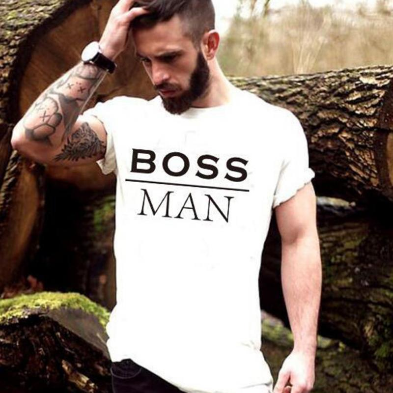 New Boss Letter Print Funny Parent Couple   T  -  Shirt   Family   T     Shirt   Father Mother Son Daughter Mine Boss Lady camisetas   shirt   #1019