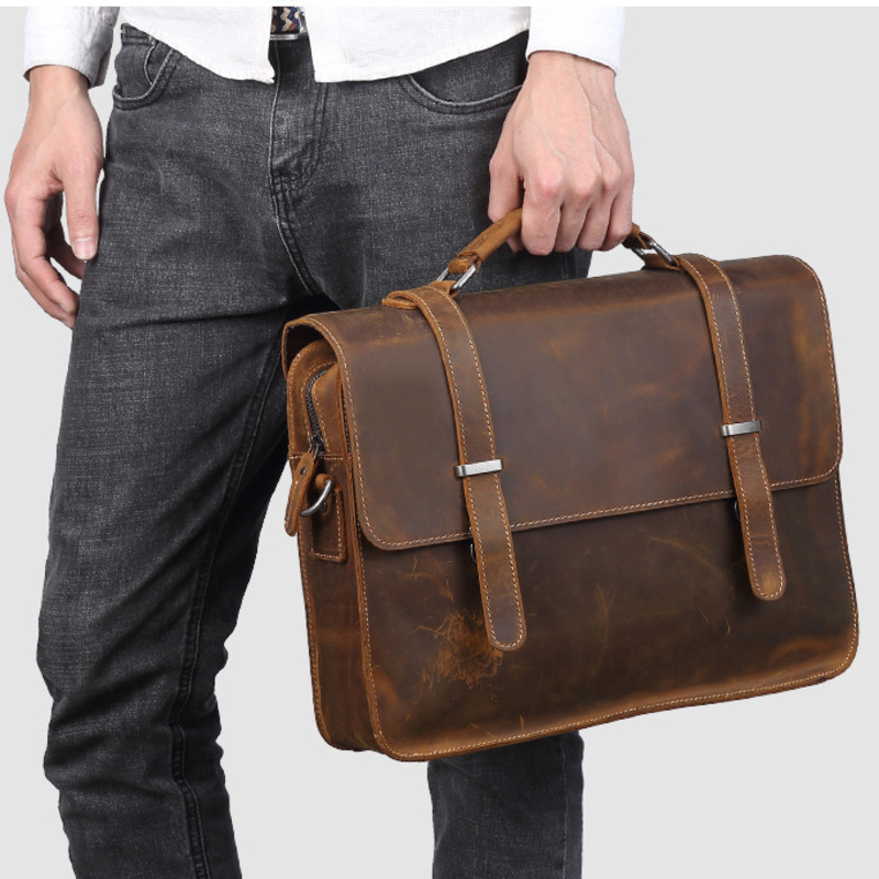 Men Business Handbag Retro Crazy Horse Leather Briefcase S680-40 Commercia Document Laptop Case Male Attache Portfolio Bag