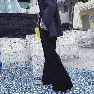 Image 4 - TWOTWINSTYLE الكورية بنطال ذو قصة أرجل واسعة للنساء عالية الخصر مطاطا زر سبليت رمادي المرأة بنطلون زائد سميكة 2020 الخريف الشتاء