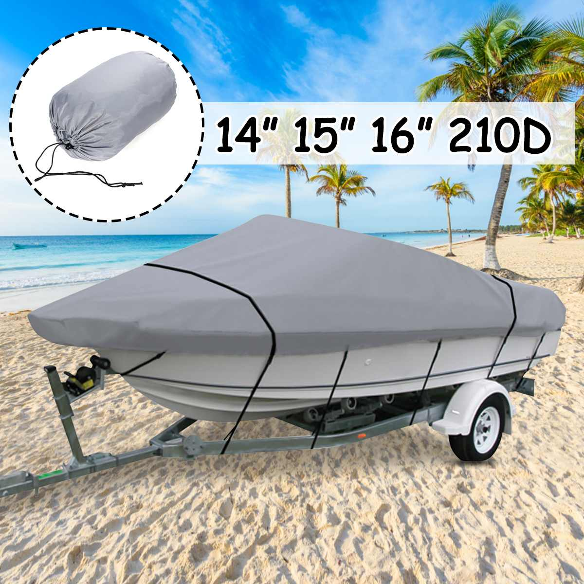 14/' 15/' 16/' V-Hull Fish Ski Trailerable Boat Cover