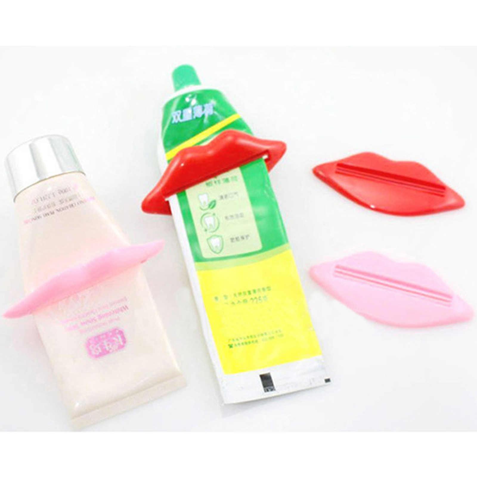 Nowy 2 sztuk zabawy usta z tworzywa sztucznego pasta do zębów dozownik na tubka do wyciskania pasty do zębów łazienka akcesoria akcesoria losowy kolor