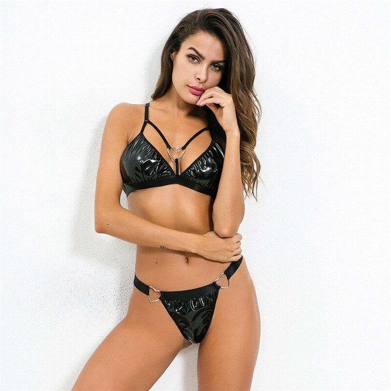 Bodies Látex Mujeres Leotardo Inferior Lencería Parte Pu De Goma Cuero Tanga Cadena Bikini La Sexy Erótico Flexible Trajes tQrhCsd