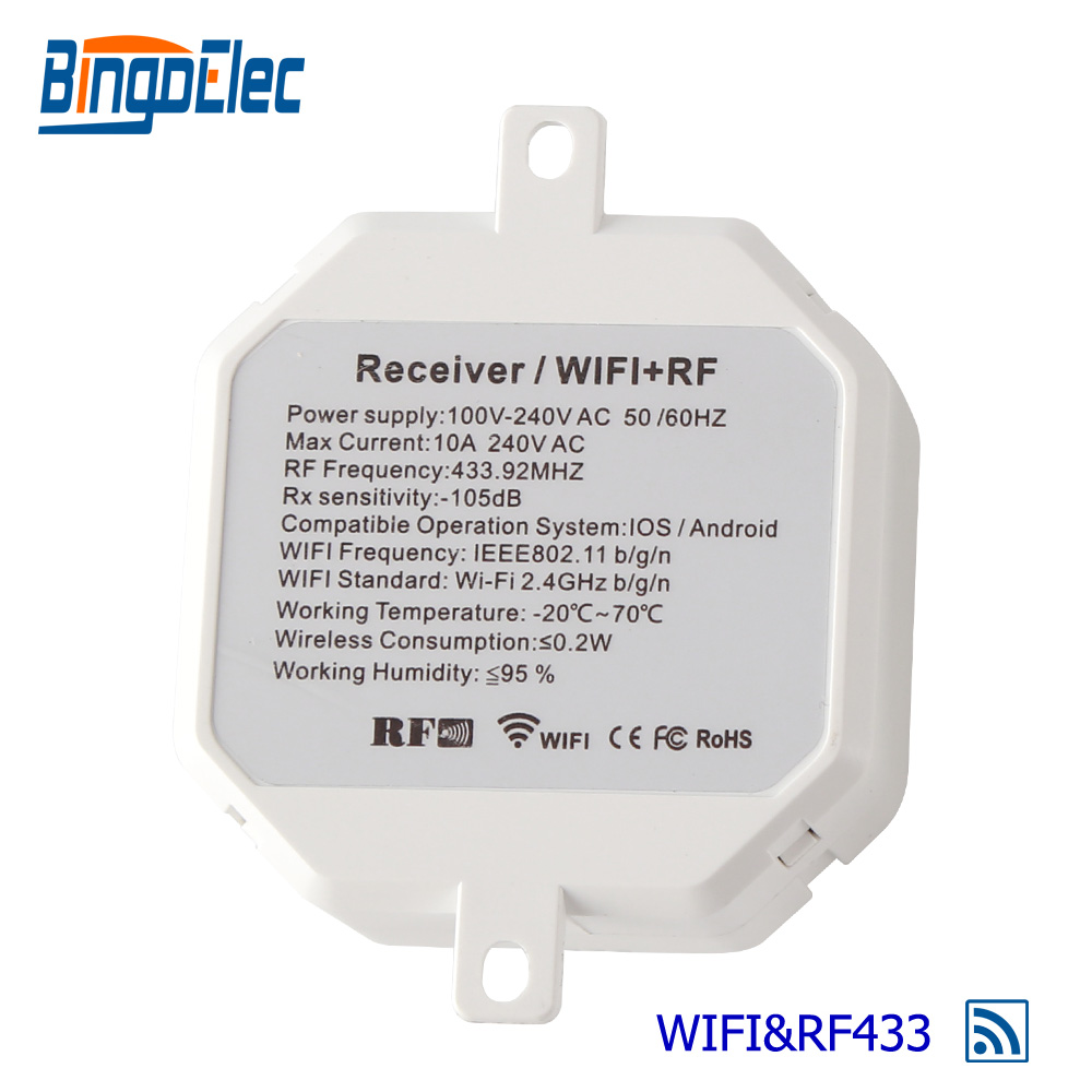 Bingoelec WIFI Wireless Receiver Switch RF 433.92 MHZ Fuse Removable Relay Signal Remote Receiver Control By Phone AC 100 V-240Bingoelec WIFI Wireless Receiver Switch RF 433.92 MHZ Fuse Removable Relay Signal Remote Receiver Control By Phone AC 100 V-240