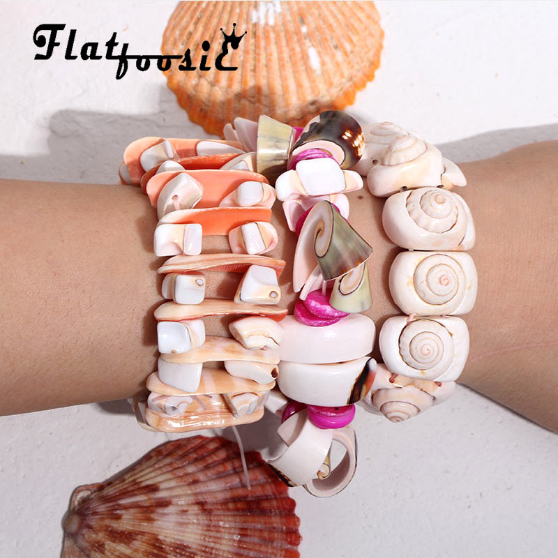 Flatfoosie Trendy Ocean Style Multi Starfish Conch Shell Coral Bracelet Chain Bracelet Bangle Jewelry Accessories Party Wedding