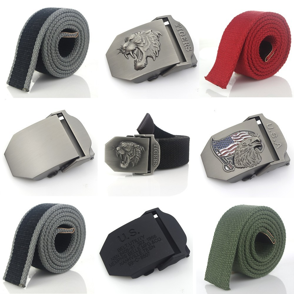 Diy Men Belt Canvas Belts Long Strap & Alloy Buckle Skull Animal Letter Casual Style Jeans Accessories Metal Buckle White Belt