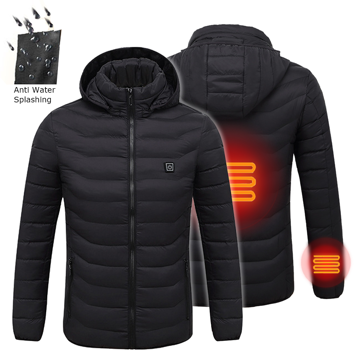 NEW Universal Winter Heated USB Hooded Work Jacket Coats Adjustable Temperature Control Safety Clothing