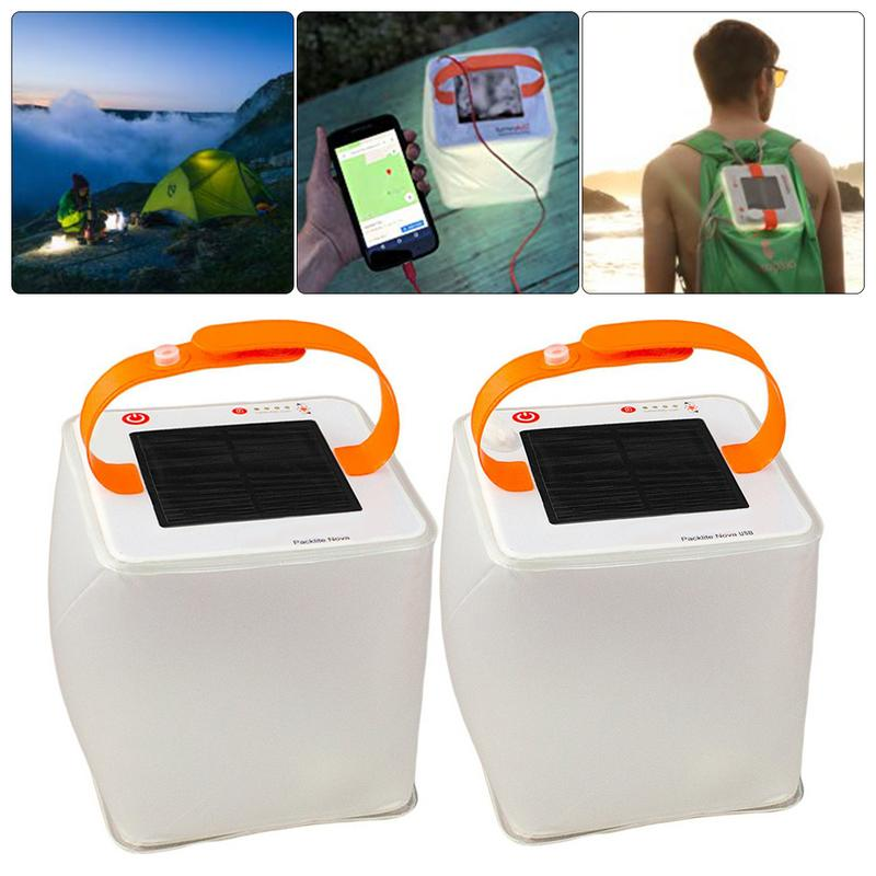 Inflatable Solar USB Light Foldable Waterproof Drop Resistance Charging Lamp Lantern For Outdoor Rescue Camping