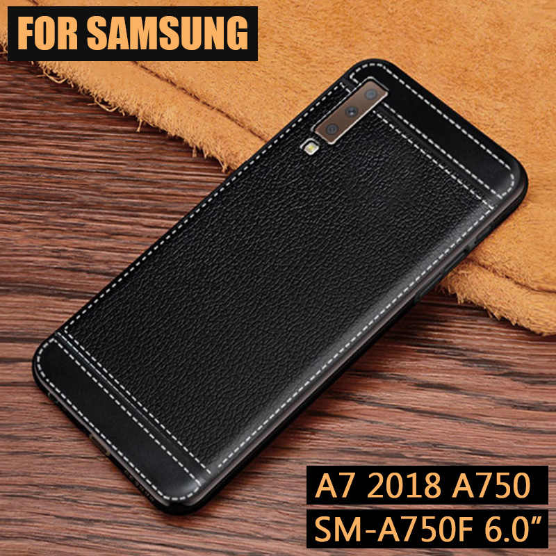 JONSONW For Samsung J4 J6+ J8 2018 Premium Leather Skin Soft TPU Silicone Case For A7 2018 A750 A6 A8 Plus A9 Phone Cover Capa