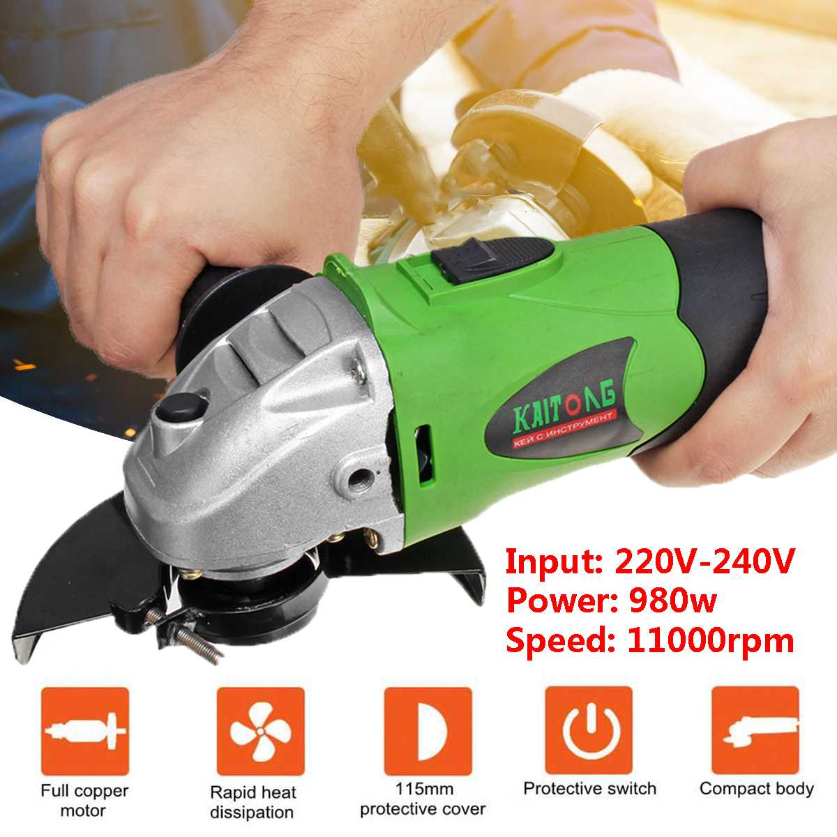 Metal Cutting Tool 980W Electric Angle Grinder 115-125mm Grinding Machine 11000RPM Adjustable Anti-Slip EU PLug Powerful Protect
