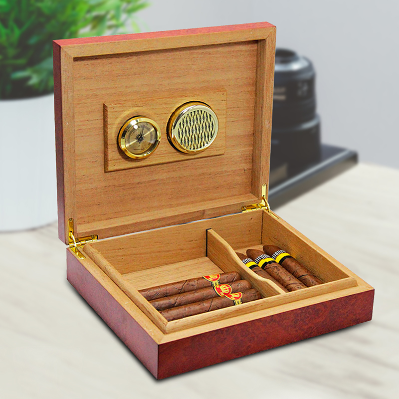 20 Count Brown Cedar Wood Lined Cigar Humidor Humidifier With Hygrometer Case Box With Moisture Meter Moisturizing Device