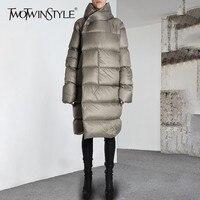 TWOTWINSTYLE с капюшоном длинные женские зимние пуховик длинным рукавом плюс толстый негабаритных пальто для будущих мам женская теплая Мода 2018