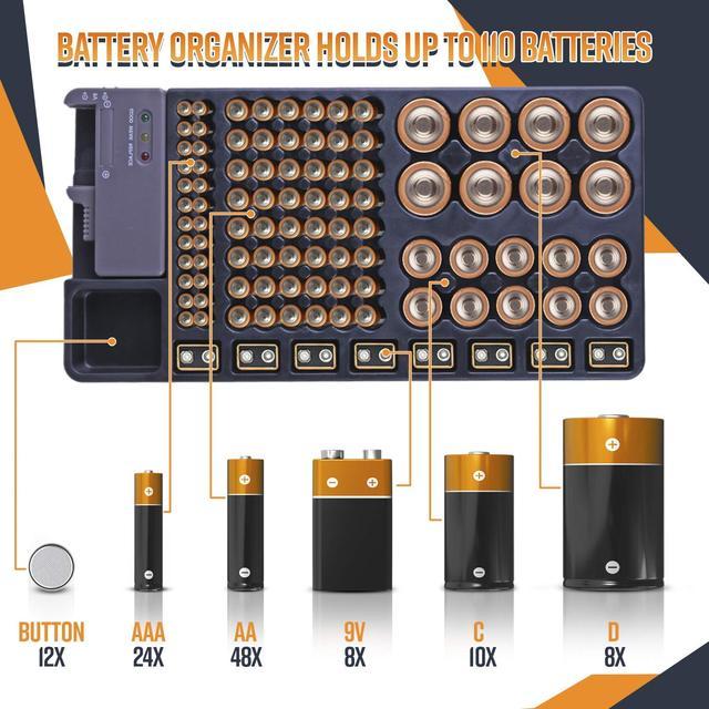 Ffyy organizador de armazenamento de bateria, suporte com testador de bateria, caixa de prateleira, incluindo verificador de bateria para aaa aa c