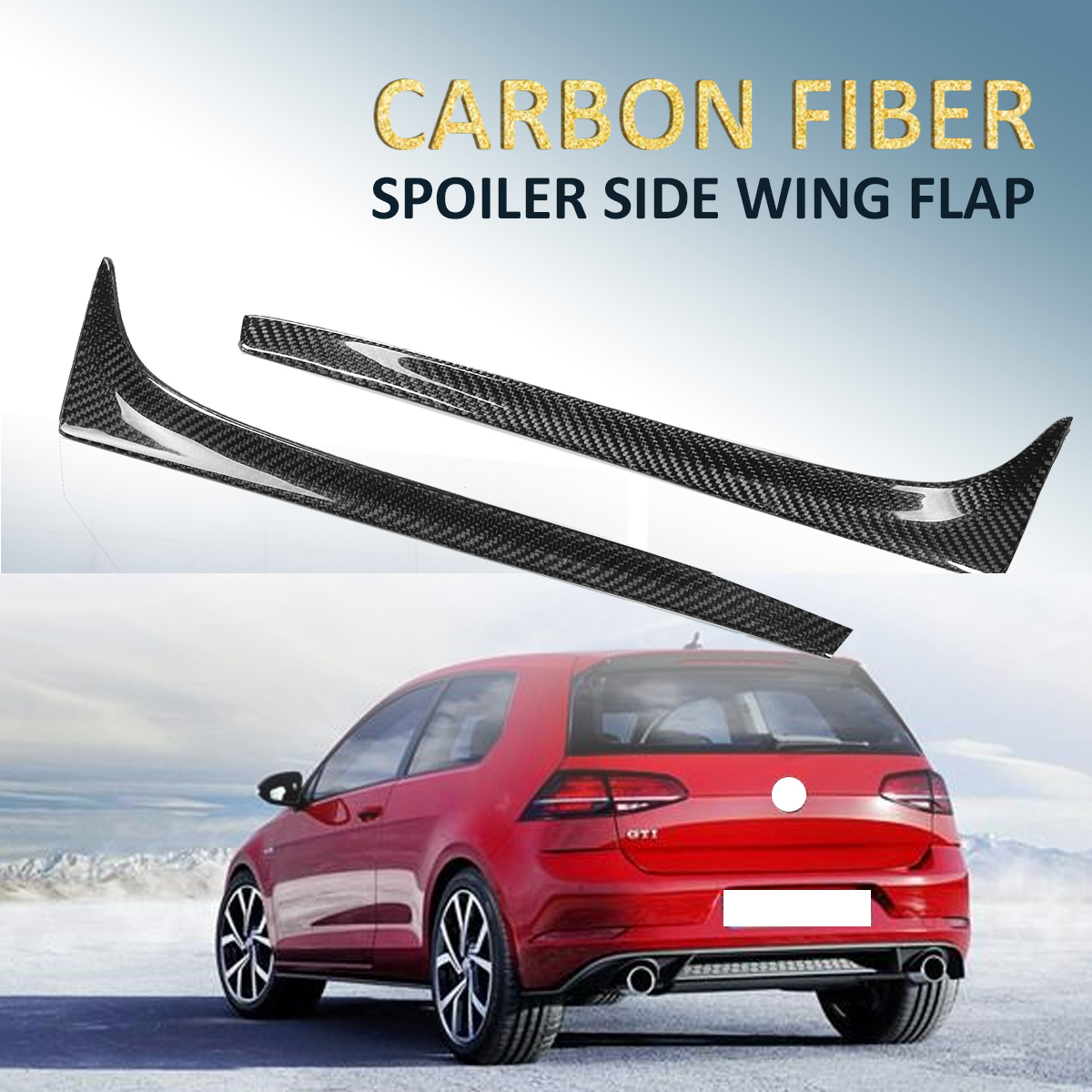 High Quality 2x Real Carbon Fiber Rear Spoiler Side Wing For Volkswagen GOLF Mk7 7 VII TSI TDI 2014-2017 Rear Side Wing Spoiler 2x rear