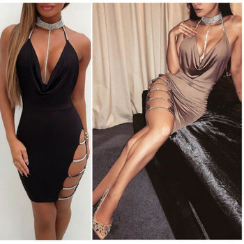 2019 New Sexy Women's Bandage Bodycon Evening Party V Neck Club Short Mini Dress