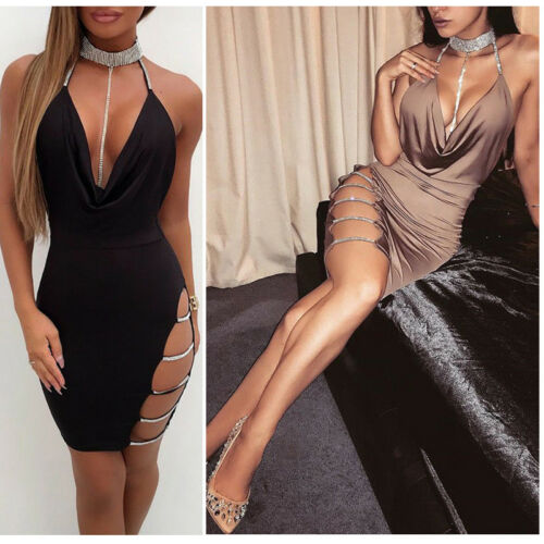 2019 New <font><b>Sexy</b></font> Women's Bandage <font><b>Bodycon</b></font> Evening Party V Neck <font><b>Club</b></font> Short Mini <font><b>Dress</b></font> image
