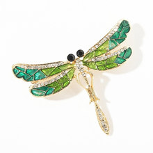Crystal Vintage Dragonfly Bros untuk Wanita Serangga Bros Enamel Pin Fashion Gaun Mantel Aksesoris Lucu Perhiasan Boutique(China)