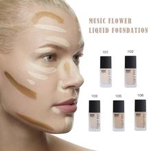 Music Flower Liquid Foundation Oil Control Moisturizing Concealer Whitening Cream Foundation Makeup Face Beauty Natural Brighten недорого