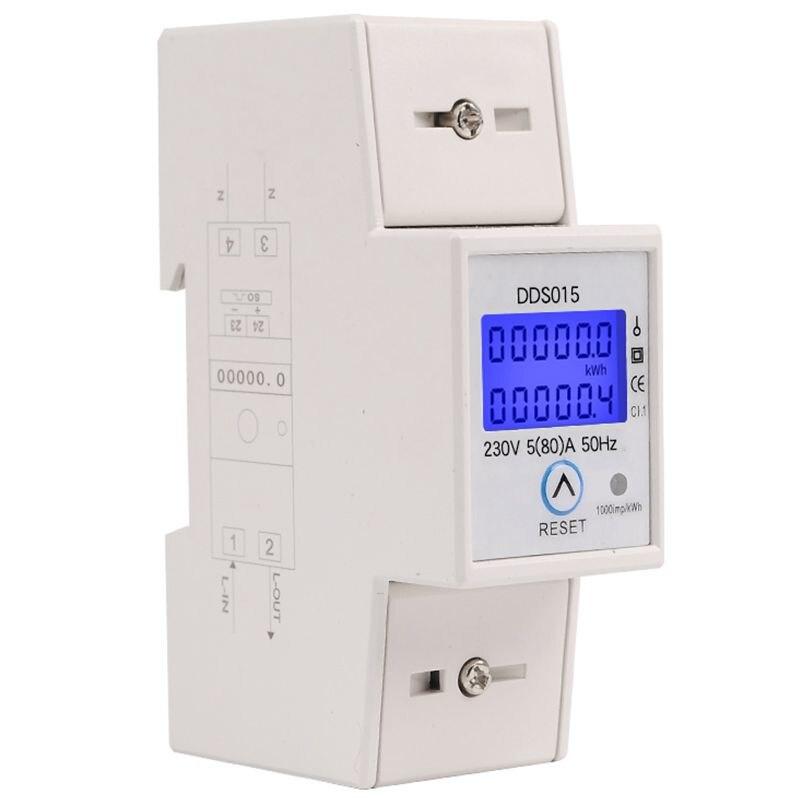Medidor de potencia de wattmetro de fase única de carril Din medidor de energía electrónico de vatios kWh 5-80A 230 V AC 50Hz con función de reinicio